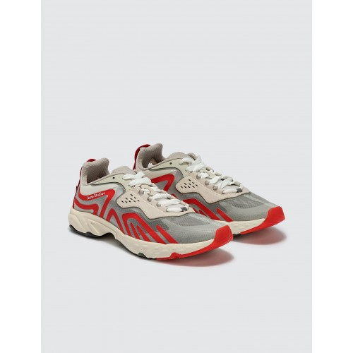 Acne Studios Mens Trail Sneakers White/Red Clearance Sale VORC852