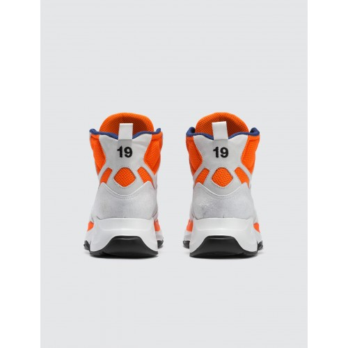 MSGM Mens High Top Chunky Sneakers White / Blue / Neon Orange Size 12 UBUQ996