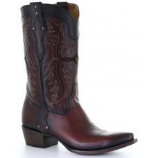 Corral Men's Black Embroidered Studded Leather Western Boots - Snip Toe Trend DNC2W167