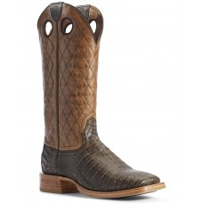 Ariat Men's Brown Caiman Belly Western Boots - Wide Square Toe Indoor Outdoor UID6A4048