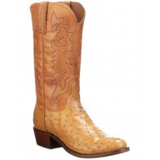 Lucchese Men's Exotic Ostrich Skin Burn Ranch Western Boots - Round Toe Outdoor MUQG31102