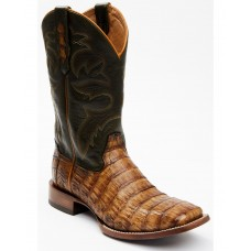 Cody James Men's Brown Exotic Caiman Tail Skin Western Boots - Wide Square Toe Wide Width Cheap M5UFH2256