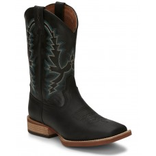 Justin Men's Tallyman Black Western Boots - Wide Square Toe Large Size For Sale N46D09542