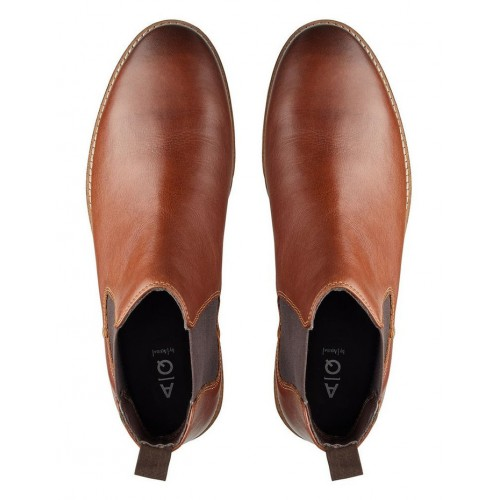 AQ by Aquila Mens Mansfield Leather Chelsea Boots Tan Spring And Winter LNQECKO