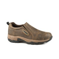 Roper Men's Air Light Brown Vintage Leather Slip On Shoes - Round Toe BNCCY334