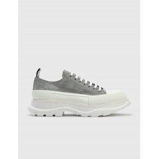 Alexander McQueen Mens Tread Slick Lace Up Sneaker Snow/White/Silver KQWO453
