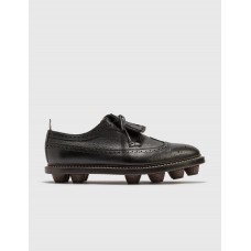 Thom Browne Men Longwing Cleat Pebble Grain Leather Shoes Black Indoor Outdoor Clearance SVRT897