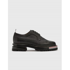 Thom Browne Mens Longwing Brogue On Hiking Sole Black New Arrival PAXH349